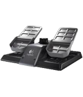 Rudder pedals with toe brakes