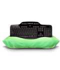 MK710 keyboard on pillow