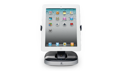 logitech speaker stand for ipad lautsprechersystem mit. Black Bedroom Furniture Sets. Home Design Ideas