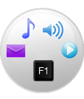 Music, audio, email icons