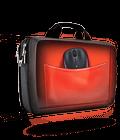 MK320 mouse in brief case pocket