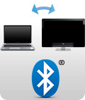 Bluetooth logo with laptop and monitor