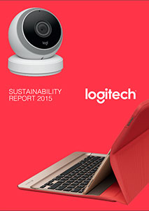 Logitech Sustainability Report Cover image having a mouce and keyboard