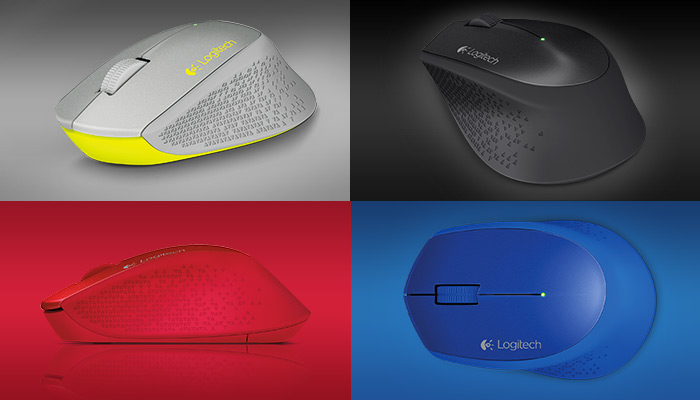 Wireless Mouse M320 in four colors: grey black, red and blue