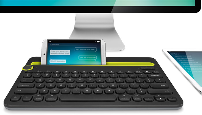 Bluetooth Multi-Device Keyboard with monitor, phone and tablet