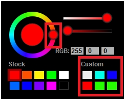 Color Selection Wheel and Custom Color
