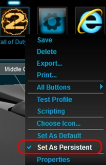 Set Default and Persistent profiles using Logitech Gaming Software