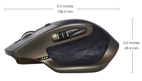 MX Master dimension, 3.4 inches wide