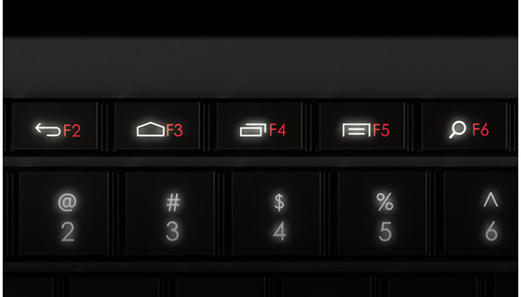 Close up of illuminated function keys