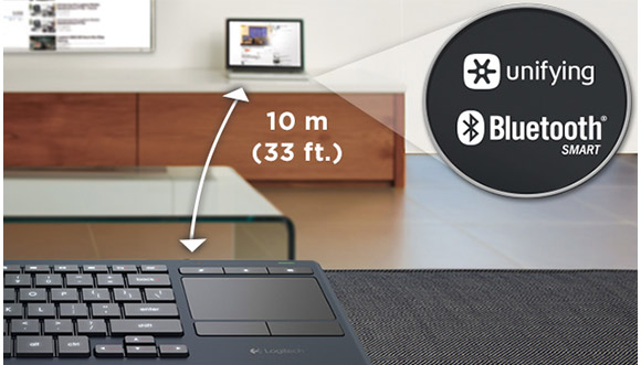 Keyboard and TV distance image with detail of Unifying receiver and Bluetooth Smart