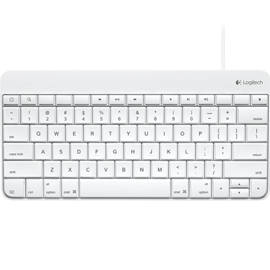 Wired keyboard, white, full view