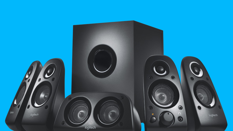 Z506 Surround Sound Speaker System with blue background