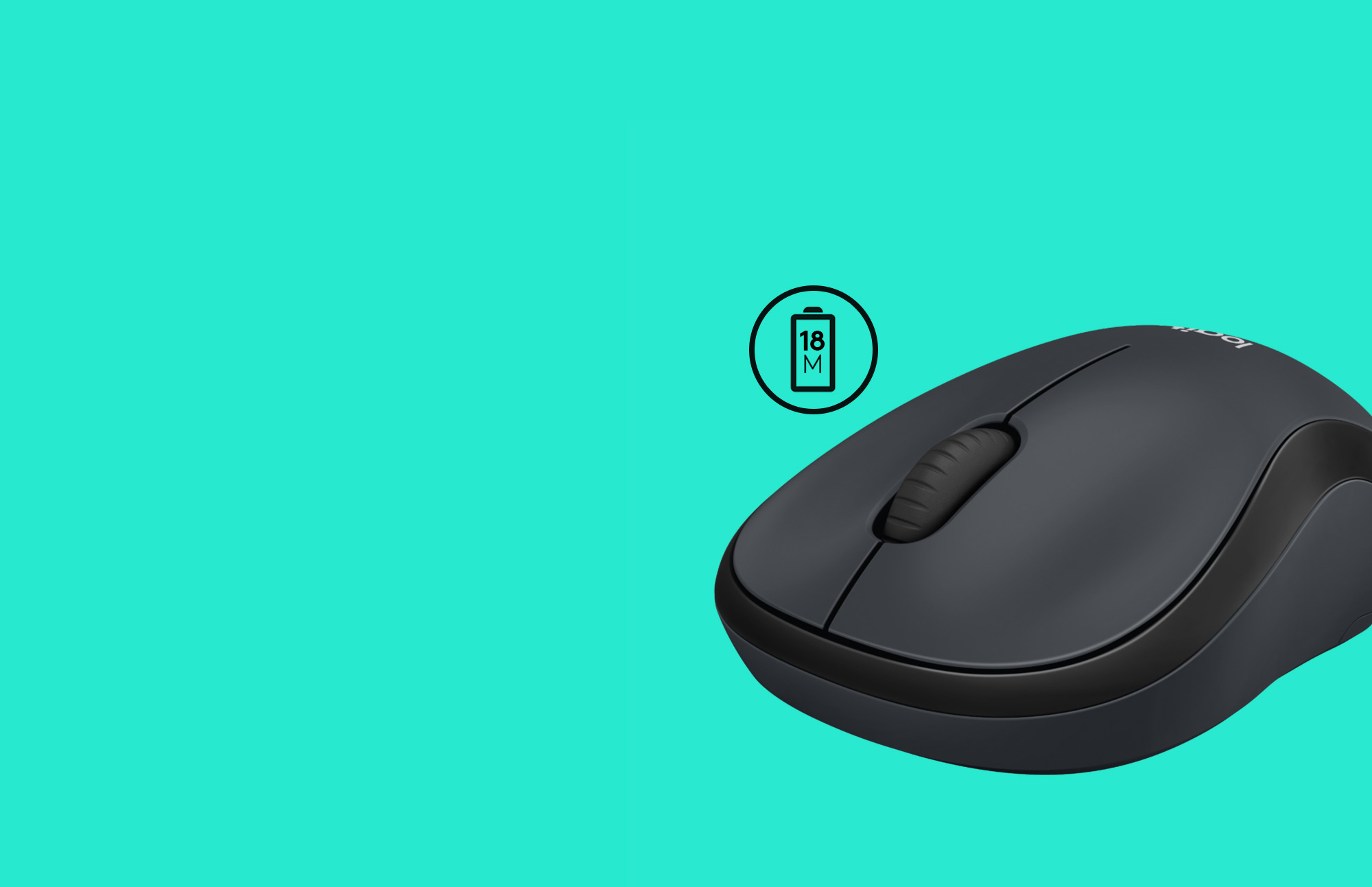 M220 Black Mouse on Teal back ground