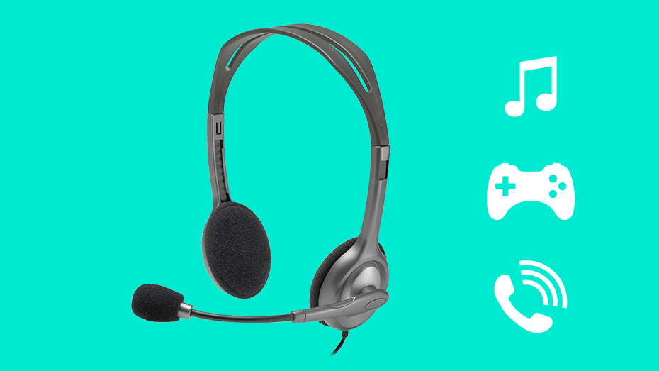 Logitech H110 Stereo Headset Dual 3 5mm Jacks Noise Cancelling Mic