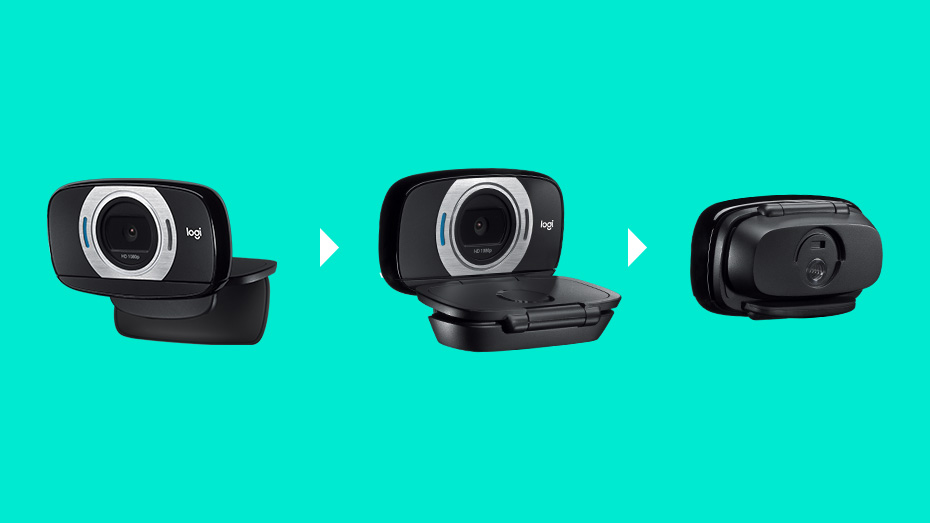 Logitech C615 Fold-and-Go HD Webcam, 1080p Video with Autofocus