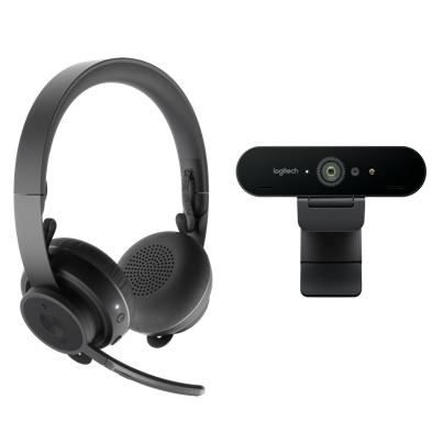 Logitech Zone Wireless Headset and Brio Webcam Product Image