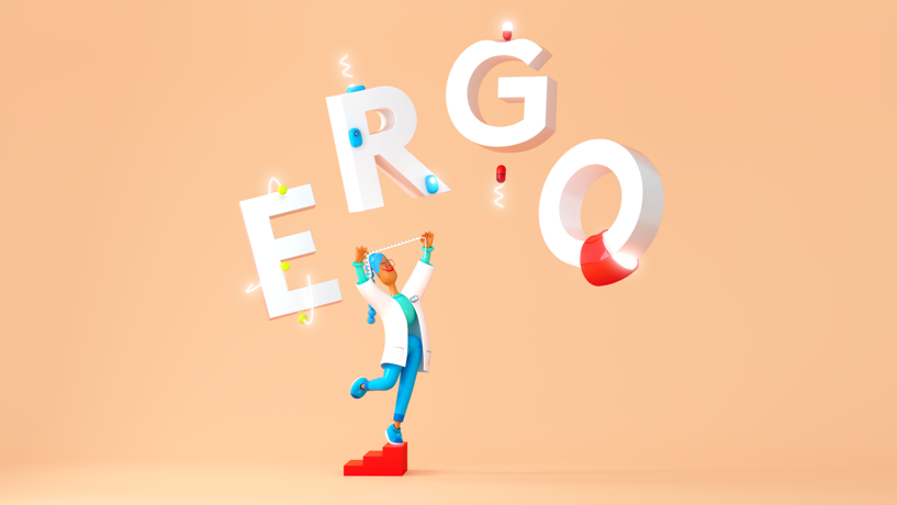 Illustration of person surrounded by the word ergo