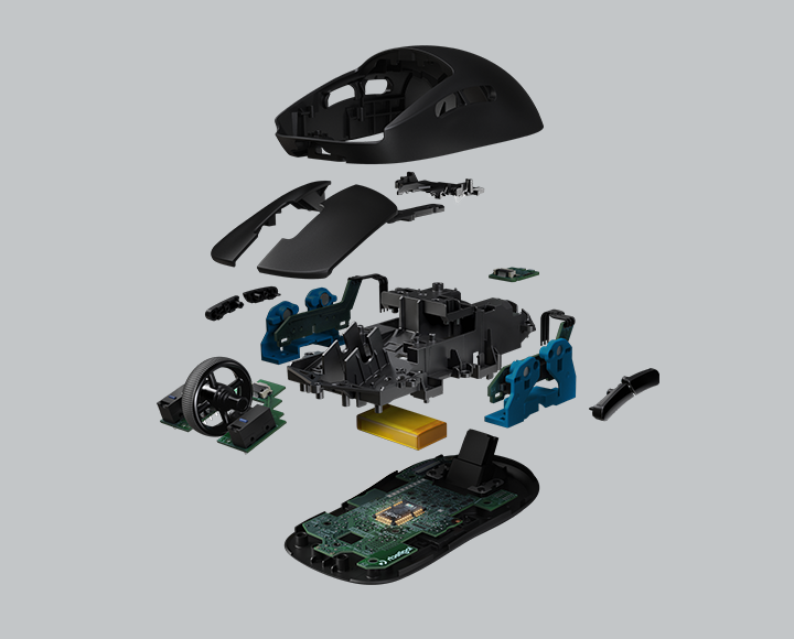 Exploded diagram of plastic mouse parts