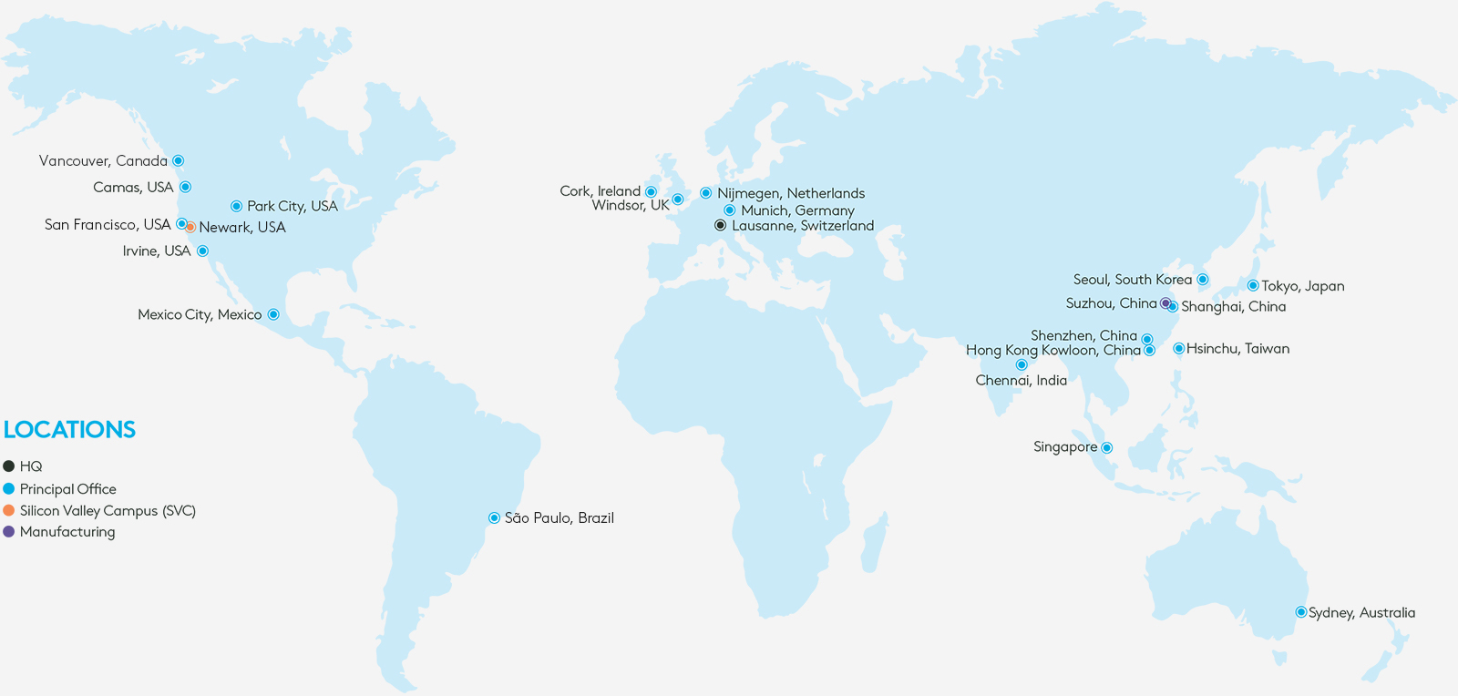 Logitech company location map