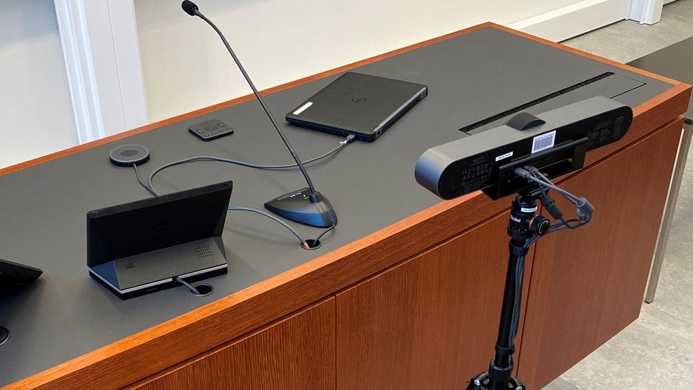 Video conferencing equipment desk setup