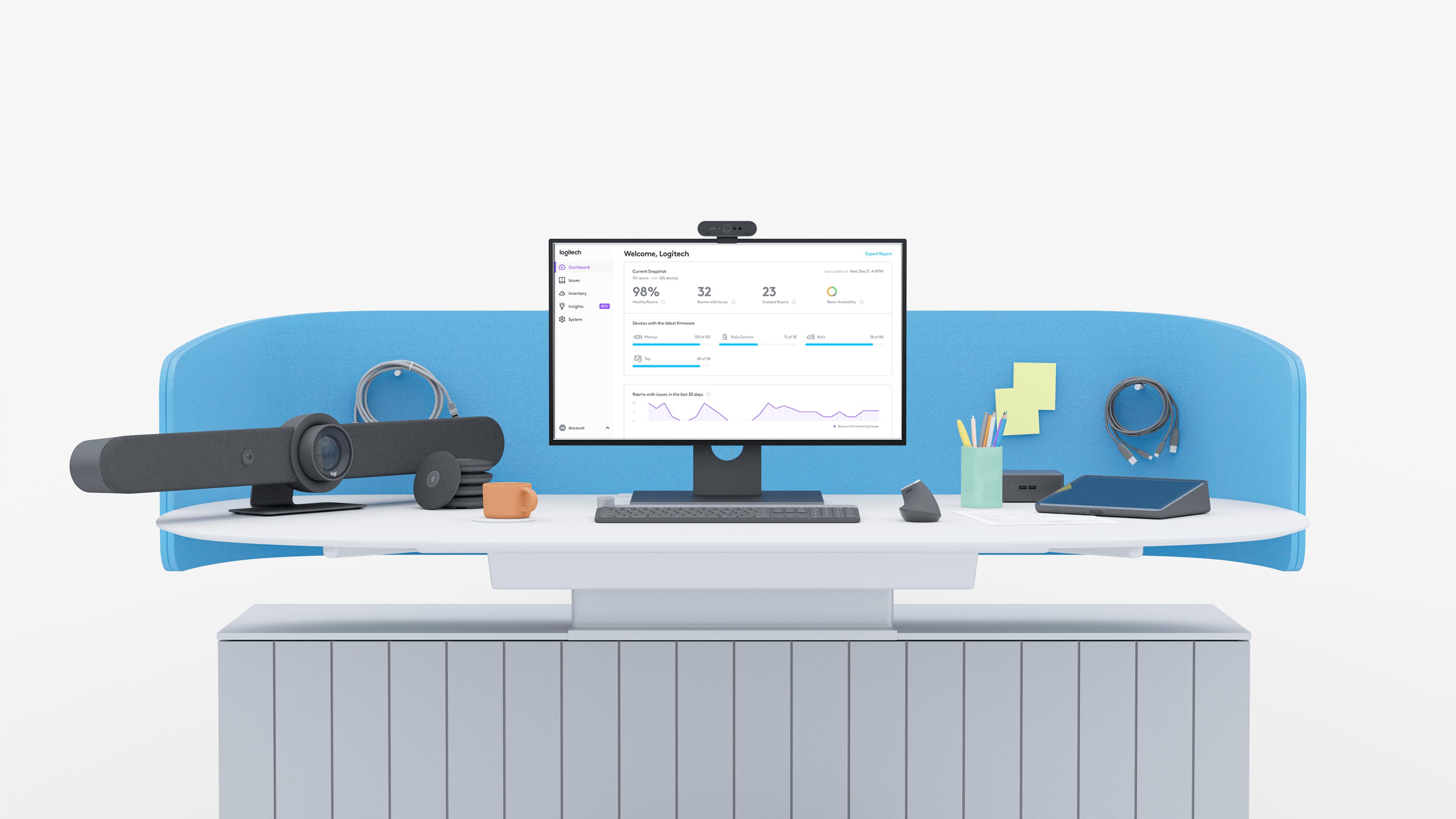 Illustration of Logitech Sync on a desktop computer screen