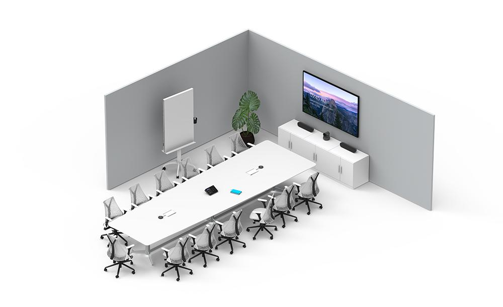 Illustration of large conference room setup with tap