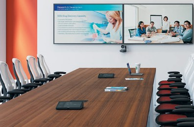 Large Conference Room with Logitech Rally Camera and Tap