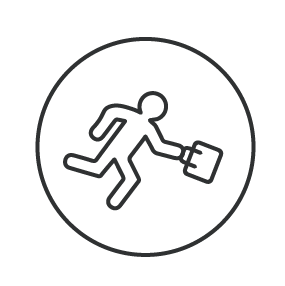 Illustration of person running with brief case.