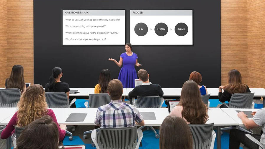 Teacher lecturing students while using video collaboration