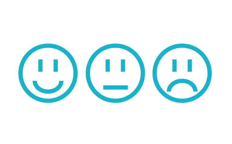 Happy, neutral, and sad faces