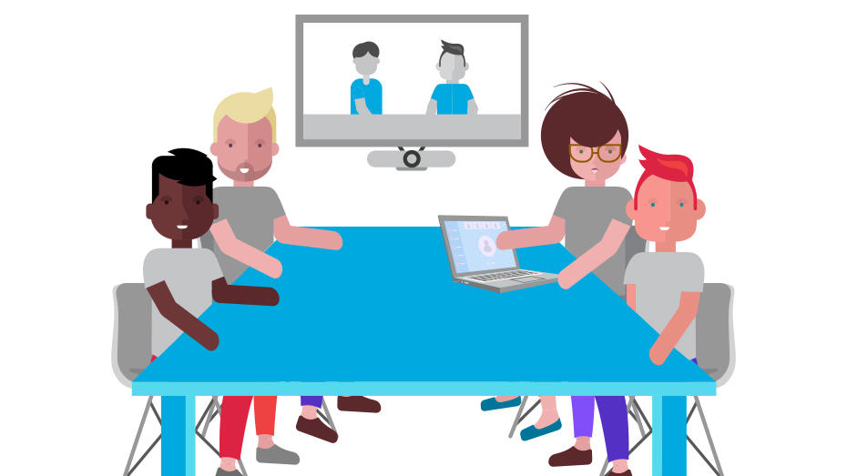 Illustration of People around conference table