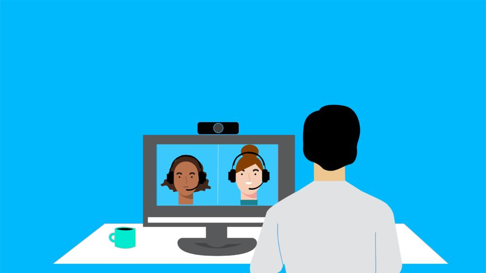 drawing of woman attending a videoconference with two women