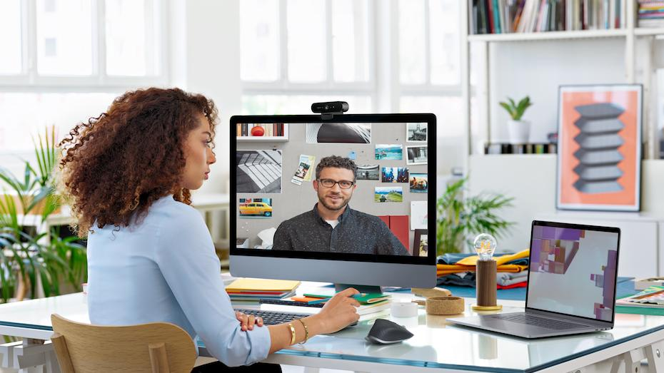 Woman and man in videoconference call