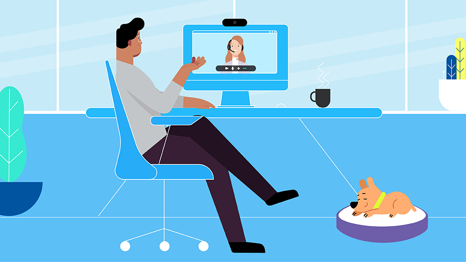 graphic showing people videoconferencing using Logitech products
